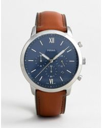 Fossil - Fs5453 Neutra Chronograph Leather Watch 44mm - Lyst