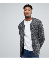ASOS | Tall Heavyweight Knitted Textured Bomber In Charcoal | Lyst