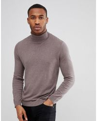 ASOS - Cotton Roll Neck Jumper In Brown - Lyst