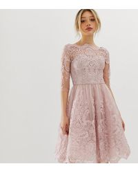 Chi Chi London - Premium Lace Midi Dress With 3/4 Sleeve In Mink - Lyst