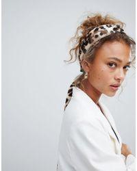 ASOS Twist Block Headscarf In Leopard Print - Multicolour