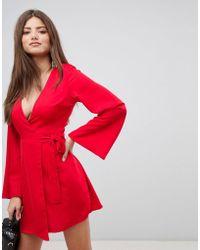 Fashion Union - Kimono Wrap Mini Dress - Lyst