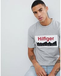 41cd028f6 Tommy Hilfiger - Label Logo Chest Print Slim Fit T-shirt In Grey Marl -