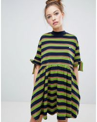 Lazy Oaf - Bow Sleeve Stripy Dress - Lyst