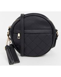 Ichi - Round Quilted Cross Body Bag In Black - Lyst