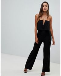 10a7360c55 Lyst - ASOS Jumpsuit With Double Layer Halter in Black
