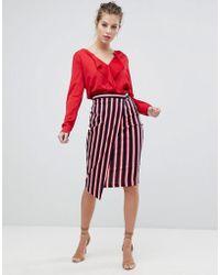 Vesper - Stripe Wrap Skirt - Lyst