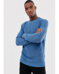 Bershka - Knitted Jumper In Light Blue - Lyst