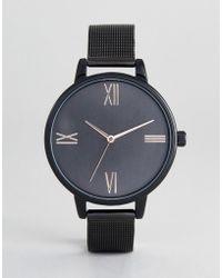 ASOS - Asos Design Curve Tonal Black Mesh Watch - Lyst