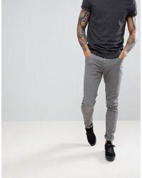 Farah - Drake Twill Slim Fit Trousers In Mid Grey - Lyst