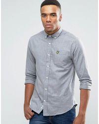 Lyle & Scott - Buttondown Flannel Shirt In Regular Fit In Grey Marl - Lyst