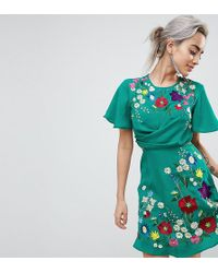 ASOS | Ultimate Embroidered Cut Out Mini Tea Dress | Lyst