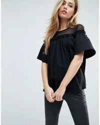 ASOS - Asos Top With Mesh Panel And Swing Detail - Lyst