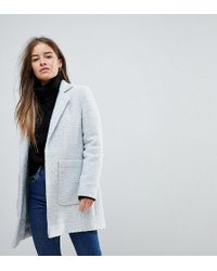 ASOS - Asos Design Petite Slim Coat In Texture - Lyst