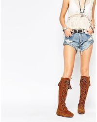Minnetonka - Brown Suede Front Lace Knee High Boots - Lyst