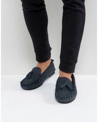 Dunlop - Tassel Slippers In Navy Suede - Lyst