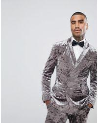 ASOS - Super Skinny Double Breasted Tuxedo Jacket In Grey Crushed Velvet - Lyst