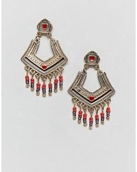 ASOS - Design Engraved Plate And Bead Drop Earrings - Lyst