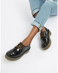 Pull&Bear - Chunky Sole Brogues In Black - Lyst