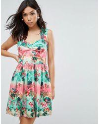 On sale Hell Bunny - Printed Skater Mini Dress - Lyst 9b6d2382b