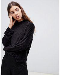 Weekday - Velour Sweatshirt In Black - Lyst