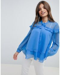 ASOS - Design Ruffle Blouse With Pussybow - Lyst