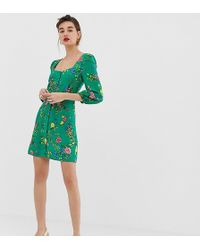 Warehouse - Tea Dress With Square Neck In Floral Print - Lyst