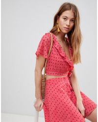 Glamorous - Crop Top With Frill Collar And Tie Side In Ditsy Rose Co-ord - Lyst