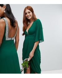 TFNC London - Midi Wrap Bridesmaids Dress With Kimono Sleeve In Forest Green - Lyst