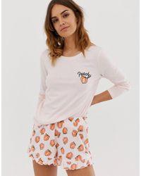 ASOS - Pijama corto con volantes y diseo estilo melocotn de - Lyst