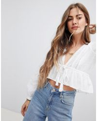Free People - Oberoi Deep V-neck Blouse - Lyst