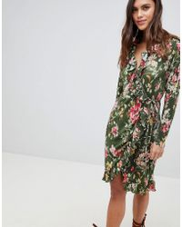 Vila - Floral Ruffle Wrap Dress - Lyst