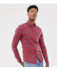 ASOS - Tall Skinny Check Shirt In Red Plaid - Lyst