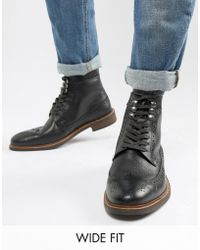 Dune - Wide Fit Brogue Boots In Black Leather - Lyst