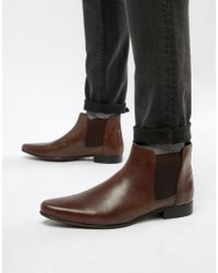 ASOS DESIGN - Asos Chelsea Boots In Brown Leather With Back Pull - Lyst