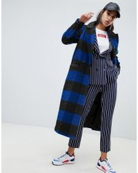 NA-KD - Check Lightweight Coat In Black And Blue - Lyst