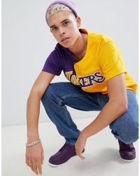 Mitchell & Ness - L.a. Lakers Split Mesh Button Front In Blue & Yellow - Lyst