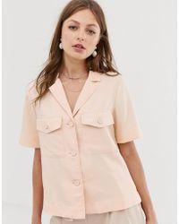 Mango Pocket Front Shirt In Pink