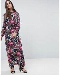 Vila - Floral Printed Maxi Dress - Lyst