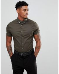 ASOS - Skinny Shirt In Khaki With Short Sleeves And Button Down Collar - Lyst