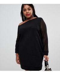 d77d352b31be ASOS - Asos Design Curve Off Shoulder Sweat Dress With Mesh Sleeve - Lyst
