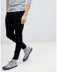 Mango - Man Biker Jeans In Black - Lyst