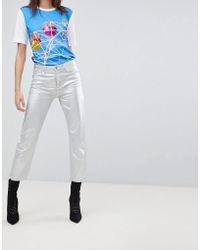 Love Moschino - Silver Metallic Boyfriend Jeans - Lyst