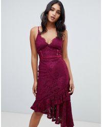 Lipsy - Lace Asymmetric Hem Cami Bodycon Dress In Purple - Lyst
