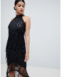 AX Paris - Racer Neck Midi Dress With Fringed Sequin Detail - Lyst