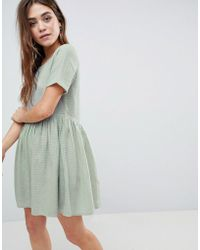 ASOS - Casual Mini Smock Dress In Grid Texture - Lyst