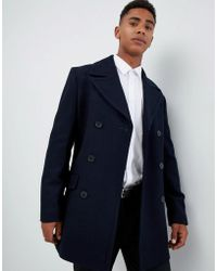 French Connection - Wool Blend Double Breasted Pea Coat - Lyst