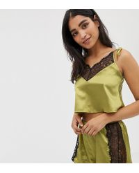 Wolf & Whistle - Lace Trim Crop And Short Pyjama Set In Chartreuse - Lyst
