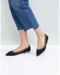 Miss Kg - Morgan Pearl Studded Pointed Ballet Flats - Lyst