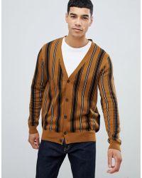 New Look - Cardigan In Brown Stripe - Lyst